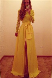Yellow Long Sleeve Lace Bodice Chiffon Evening Dress With Front Slit