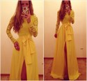 Show details for Yellow Long Sleeve Lace Bodice Chiffon Evening Dress With Front Slit