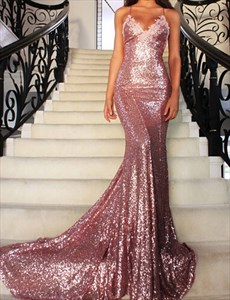 Pink Spaghetti Strap Sequin Mermaid Backless Evening Dress With Train