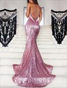 Show details for Pink Spaghetti Strap Sequin Mermaid Backless Evening Dress With Train