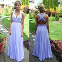 Sleeveless Lavender Ruched Chiffon Long Prom Dress With Beaded Waist