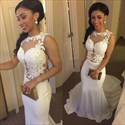 Show details for Illusion White Sleeveless Floral Applique Mermaid Prom Gown With Train