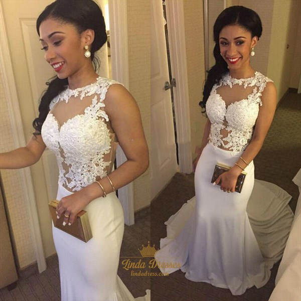 Illusion White Sleeveless Floral Applique Mermaid Prom Gown With Train