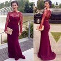 Burgundy Illusion Lace Bodice Floor Length Prom Gown With Long Sleeves