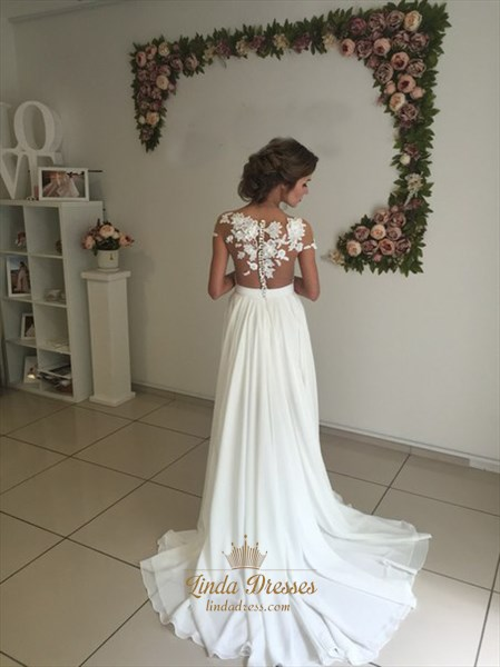 Illusion Off-The-Shoulder Floor-Length Chiffon Wedding Dress With Slit