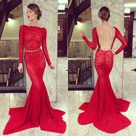 Gorgeous Red Lace Long-Sleeve Mermaid Formal Dress With Open Back