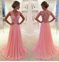 Illusion Pink Sleeveless V-Neck Lace Bodice Chiffon A-Line Prom Dress