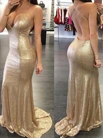 Champagne Sequin Spaghetti Strap Open Back Floor-Length Prom Dress