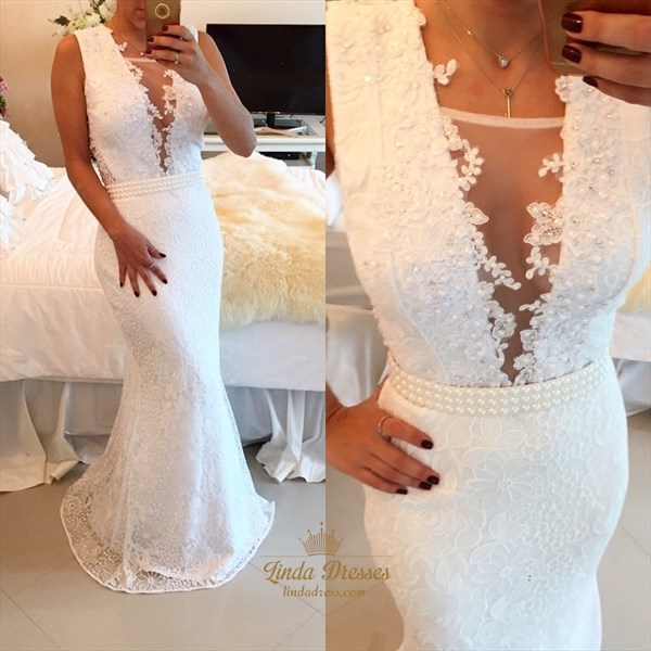 White Sleeveless V-Neck Lace Mermaid Long Evening Dress With Beading