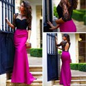 Show details for Illusion Two Tone Half Sleeve Mermaid Long Prom Gown With Keyhole Back