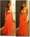 Orange Chiffon A-Line Strapless Sweetheart Neckline Beaded Prom Dress