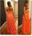 Show details for Orange Chiffon A-Line Strapless Sweetheart Neckline Beaded Prom Dress