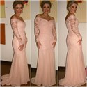 Show details for Illusion Blush Pink Off Shoulder Long Sleeve Lace Chiffon Prom Dress