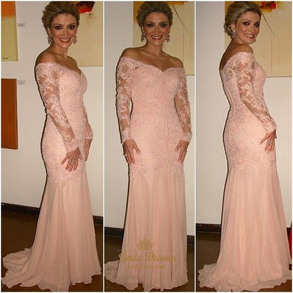 Illusion Blush Pink Off Shoulder Long Sleeve Lace Chiffon Prom Dress
