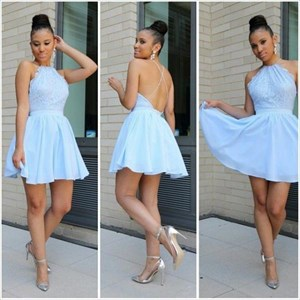 Light Blue Sleeveless Spaghetti Strap A-Line Chiffon Homecoming Dress