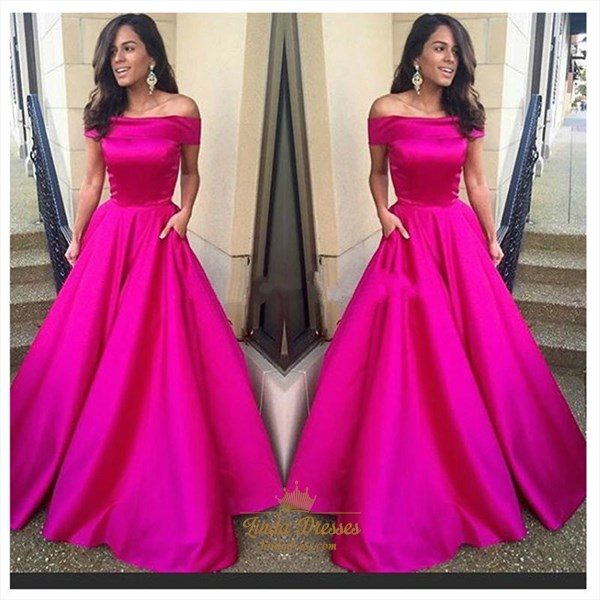 Elegant Simple Fuchsia Off-The-Shoulder A-Line Ball Gown Prom Dress