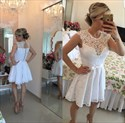 Show details for Lovely White Knee Length Sleeveless A-Line Lace Homecoming Dress