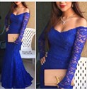 Royal Blue Off-The-Shoulder Lace Mermaid Prom Dress With Long Sleeves