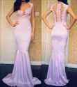 Show details for Lavender Sleeveless Lace Bodice Mermaid Prom Dress With Illusion Back
