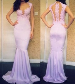 Lavender Sleeveless Lace Bodice Mermaid Prom Dress With Illusion Back