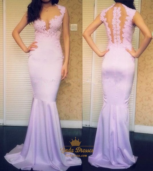 Lavender Sleeveless Lace Bodice Mermaid Prom Dress With Illusion Back