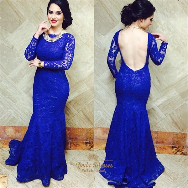 Long Sleeve Royal Blue Mermaid Lace Evening Dress With Open Back