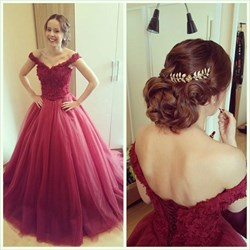 Elegant Off-The-Shoulder Lace Bodice A-Line Tulle Ball Gown Prom Dress