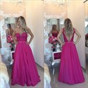 Show details for Fuchsia Sleeveless A-Line Floor-Length Prom Dress With Sheer Neckline