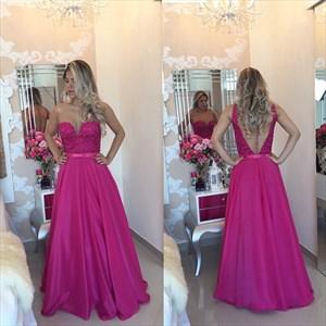 Fuchsia Sleeveless A-Line Floor-Length Prom Dress With Sheer Neckline