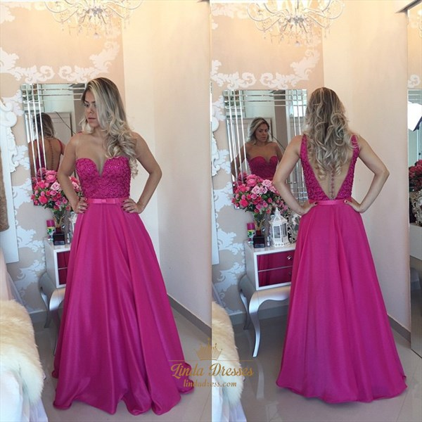 Fuchsia Sleeveless A-Line Floor-Length Prom Dress With Sheer Neckline
