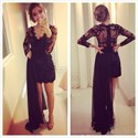 Show details for Black Illusion Long Sleeve V Neck Cocktail Dress With Detachable Train