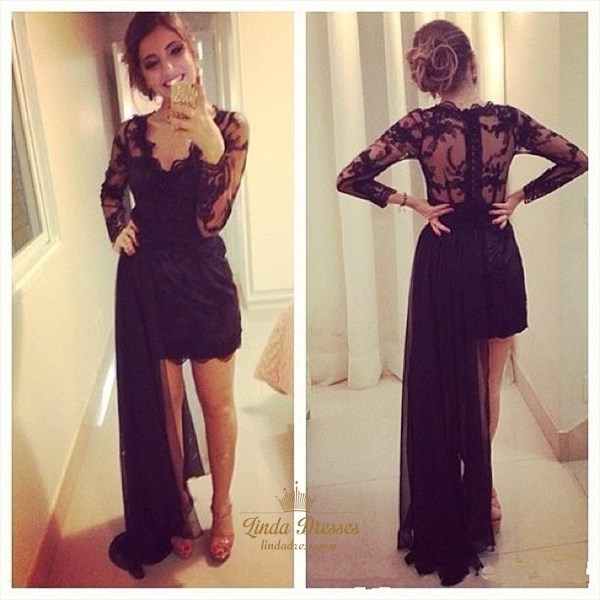 Black Illusion Long Sleeve V Neck Cocktail Dress With Detachable Train