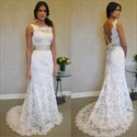 Show details for Elegant White Sleeveless Lace Mermaid Wedding Dress With Open Back