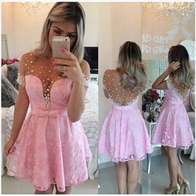 Illusion Short Sleeve Lace Knee Length A-Line Beaded Homecoming Dress