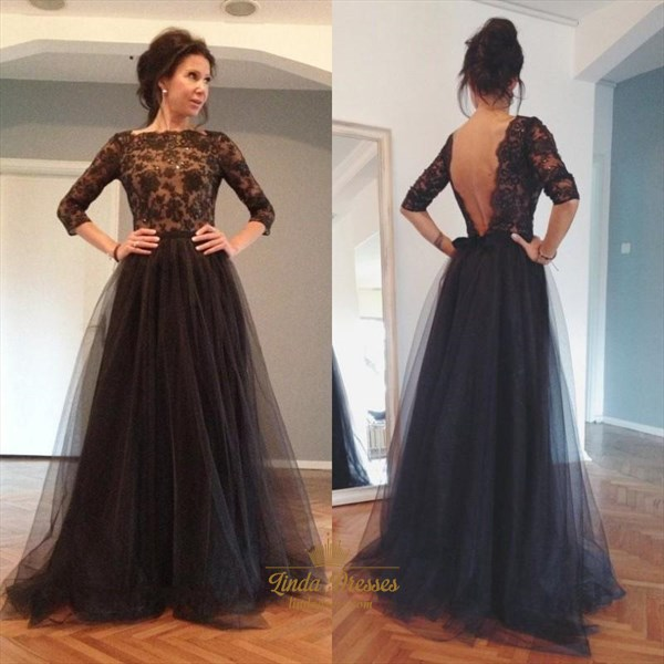 Black 3/4 Length Sleeve Lace Bodice Tulle Prom Dress With Open Back