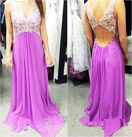 A-Line Sleeveless Lace Embellished Chiffon Cut Out Waist Prom Dress
