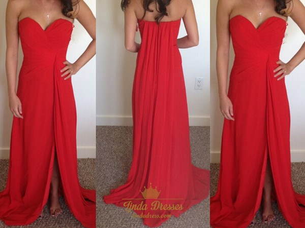 Simple Red Strapless Sweetheart Chiffon Long Prom Dress With Split