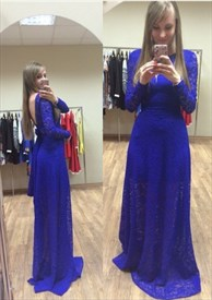 Royal Blue Long Sleeve Backless A-Line Lace Long Prom Dress With Belt