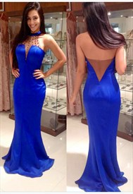 Royal Blue Illusion Beaded Neckline Mermaid Prom Dress With Open Back