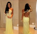 Illusion One Shoulder Lace Chiffon Evening Dress With Long Sleeves