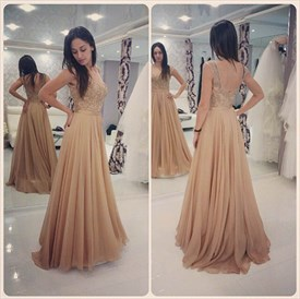 Champagne Sleeveless A-Line Floor-Length Prom Dress With Open Back