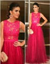 Show details for Elegant Floor-Length Fuchsia Sleeveless Lace Bodice A-Line Prom Dress