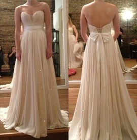 A-Line Strapless Sweetheart Sequin Embellished Chiffon Long Prom Dress