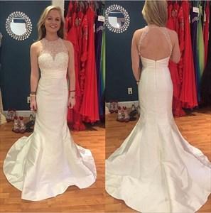 Illusion Beaded Neckline Sleeveless Mermaid Prom Dress With Open Back
