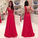 Red Sleeveless Lace Bodice Chiffon Bottom Prom Dress With Open Back