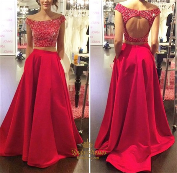 Elegant Two-Piece Beaded Bodice A-Line Prom Dress With Keyhole Back