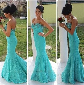 Aqua Blue Strapless Lace Long Mermaid Prom Dress With Beaded Neckline