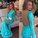 Turquoise Fit And Flare Long Sleeve Backless Lace Mermaid Formal Dress