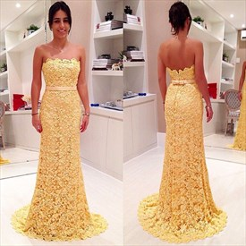 Yellow Full Lace Strapless Floor-Length Mermaid Prom Dress With Ribbon