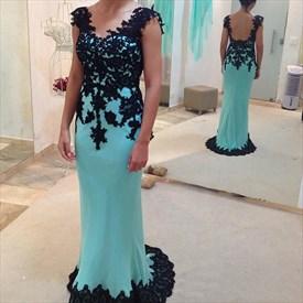 Aqua Blue Cap Sleeve Black Lace Embellished Prom Dress With Open Back